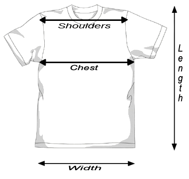 Tattoo Biker Rock Mens T-shirt size chart