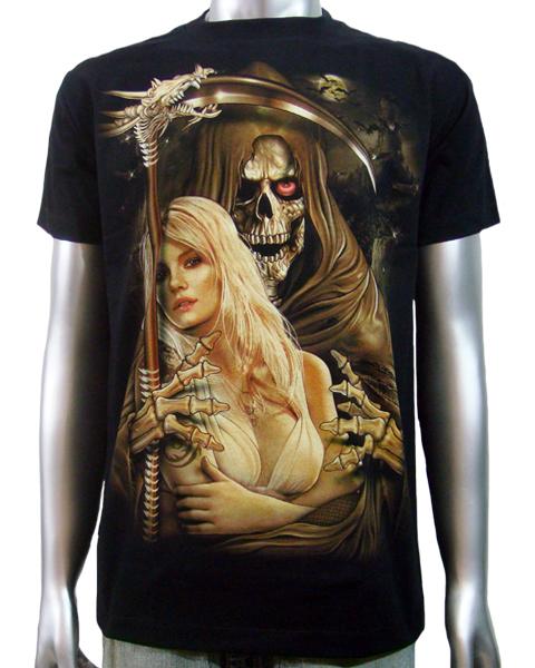 Tattoo Reaper Woman: Grim Reaper Sexy Girl T-shirt