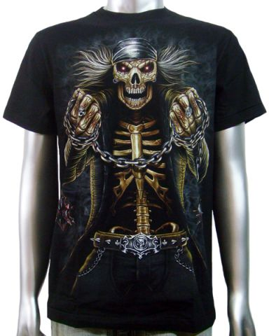 Skeleton Biker Skulls T-shirt: click to enlarge