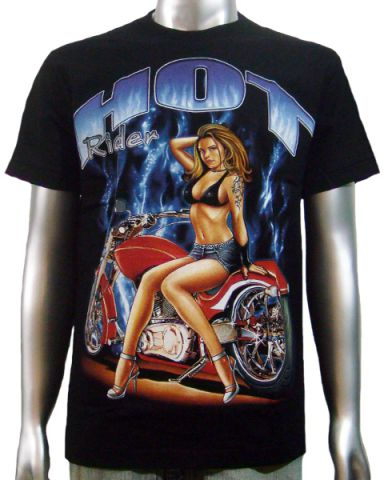 Hot Rider Pin Up Chopper T-shirt: click to enlarge