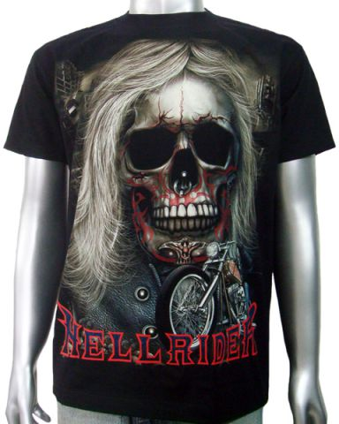 Biker Skull Chopper T-shirt: click to enlarge