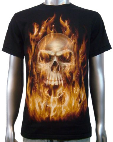 Flaming Vampire Skull T-shirt: click to enlarge