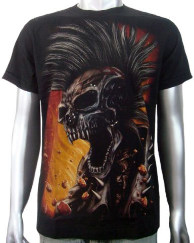 Punk Skull Biker Chopper T-shirt: click to enlarge