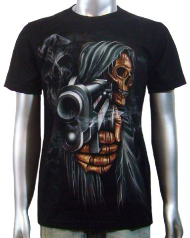 Grim Reaper Handgun T-shirt: click to enlarge
