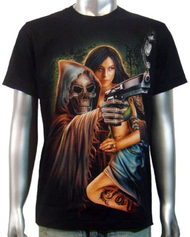 Reaper Handgun & Girl T-shirt: click to enlarge
