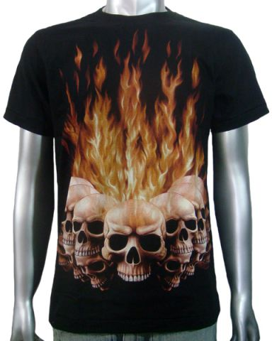 Flaming Tattoo Skulls T-shirt: click to enlarge