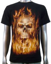 Flaming Vampire Skull T-shirt