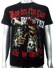 Skeleton Gangster Handgun T-shirt